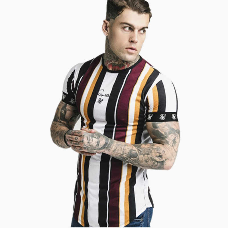 2019 Nova Hip Hop musculação apertado t shirt Homens Atleta de fitness poliéster tarja de Manga Curta t-shirt tops de Verão Casual Streetwear