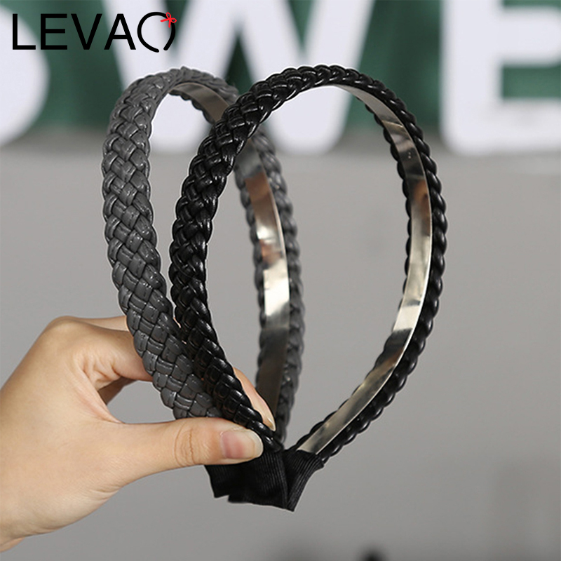 LEVAO Twisted Braid Headbands Female Hairband Synthetic Leather Women Bezel Turban Headwear Hair Accessories Girls Hair Hoop New