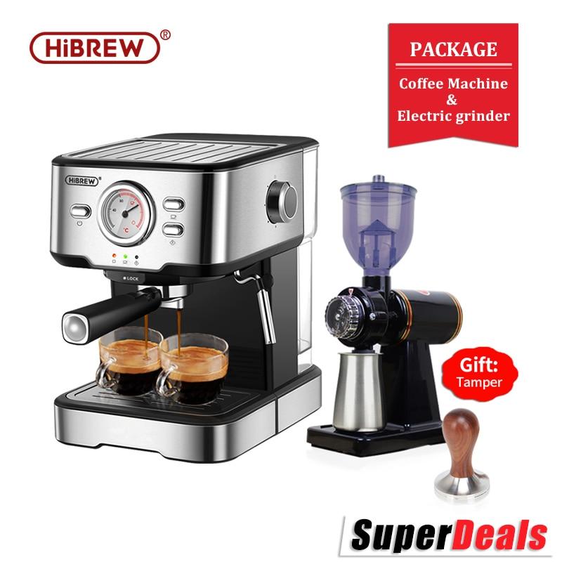HiBREW 20 Bar Espresso Coffee Machine inox Semi Automatic Expresso Cappuccino Maker Steam Wand Hot Water Temperature Meter H5 1