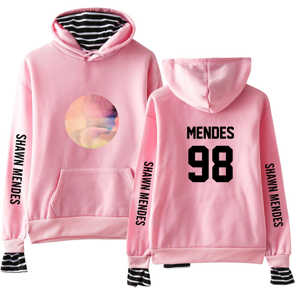 Shawn Mendes Fake Two Pieces Sweatshirt Women Autumn Winter Fashion Casual Pink Hip Hop Hoodie Shawn Mendes Pullover Streetwear