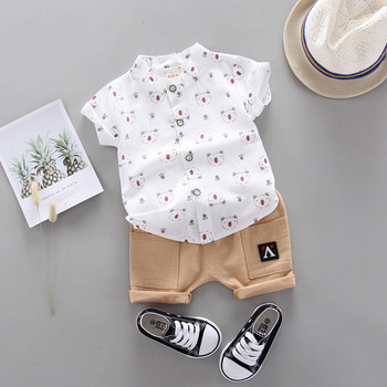 New Summer Children Fashion Clothing Suit Baby Boys Girls Print Shirt Shorts Kids Infant Coat Toddler Clothes Sets 1 2 3 4 Years