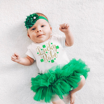 Lucky Babe Saint Patricks Day Baby Rompers Newborn Girls Boys 1st St Patrick's Day Jumpsuit Outfit Funny Infant Shower Clothes 1