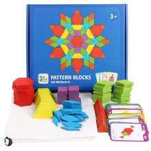 155pcs Children Colorful Wooden Pattern Blocks Shape Cognition Classic Toy Kids Early Education Toy