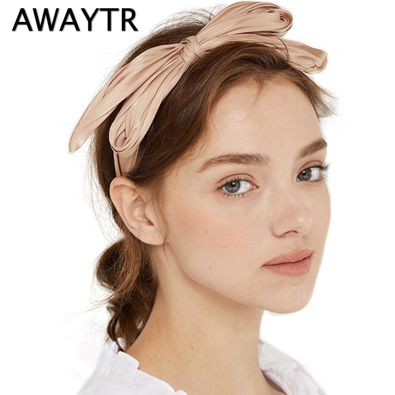 AWAYTR Knotted Big Bow Hair Band Crumpled Headband Hairpin Solid Hairband Accessories Fashion Sweet Girl Hair Accessories