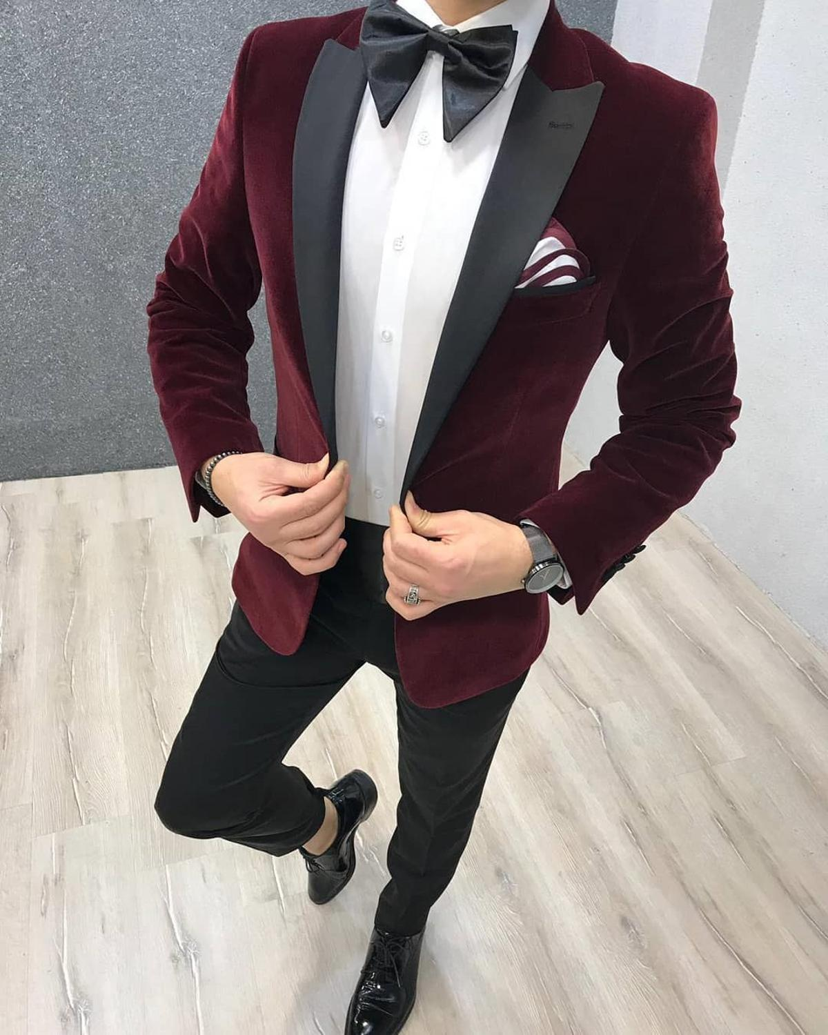 Solovedress Velvet Blazer Jacket Peak Lapel Button Fly Mens Prom Suit Two Three Pieces Soft High Quality Fashion Tuxedos Wear