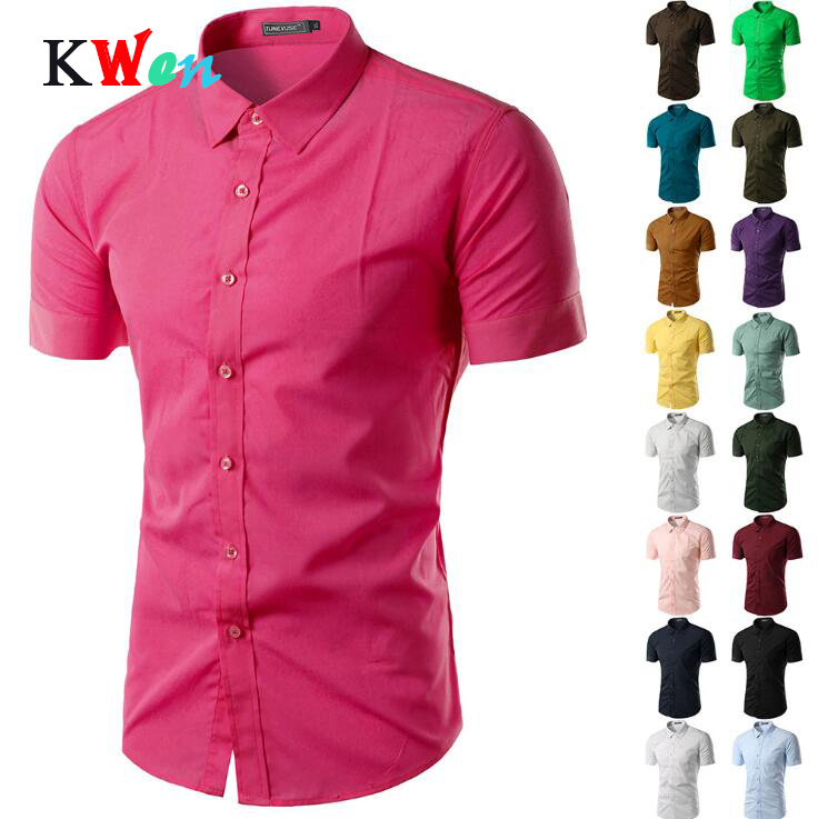 Men's Short Sleeve Shirt Slim Fit Camisa Social Masculina Chemise Homme 2019 New Summer Mens Solid Color Business Shirts 6537