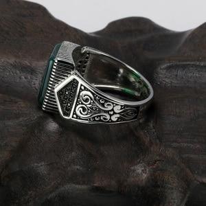 Image 3 - Гарантированные мужские серебряные кольца s925, антикварные турецкие кольца для мужчин, вывеска, кольцо с квадратным камнем цвета, турецкие ювелирные изделия Anello Uomo