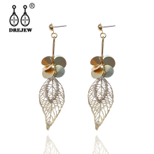 DREJEW Gold Silver Openwork Leaf Rhinestone Statement Earrings 2019 Long 925 Drop Sets for Women Wedding Jewelry HE6111