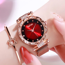 Rose Gold Luxury Women Watches Ladies Diamond Magnetic