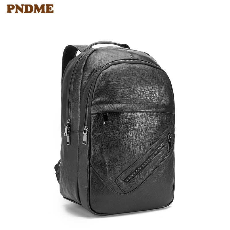 PNDME casual simple black genuine leather mens womens backpack large capacity  laptop bagpack waterproof travel bookbags