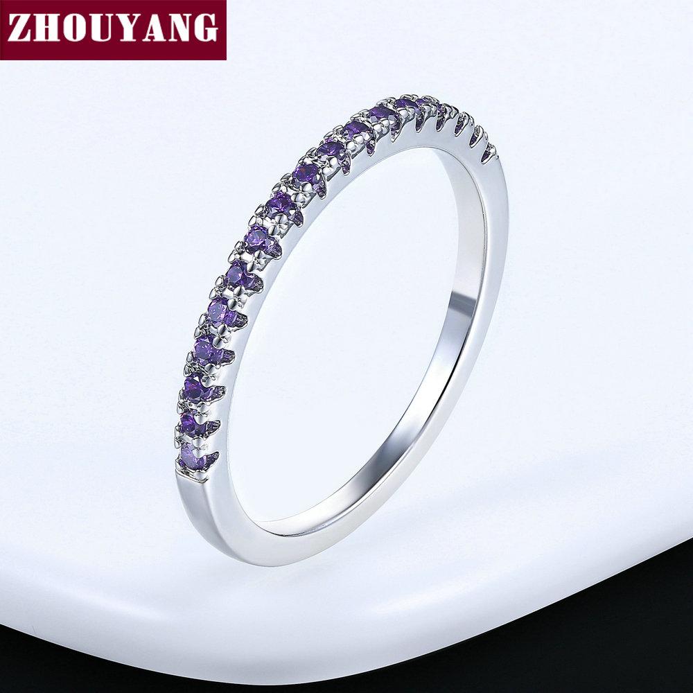 ZHOUYANG обручальное кольцо для женщин и мужчин лаконичное классическое многоцветное мини кубическое циркониевое розовое золото цвет подарок модное ювелирное изделие R251 - Цвет основного камня: R185