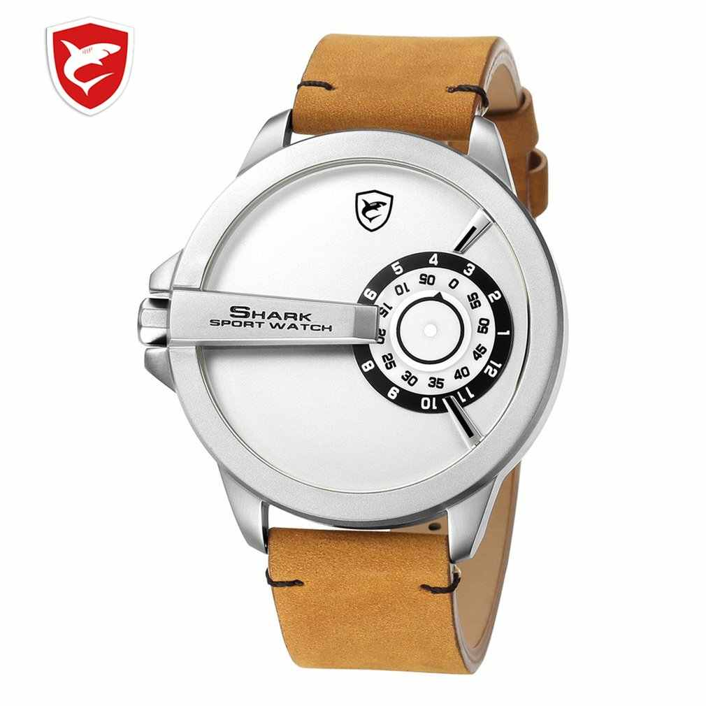 Cool Fashion SHARK Sport Watch Large Dial Military Quartz Mens Leather Watches High Quality Wristwatch Relogio Masculino /SH566