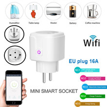 16A Wifi smart socket plug EU with APP control Voice control compatible with Alexa Google Home mini plug intelligent control(China)