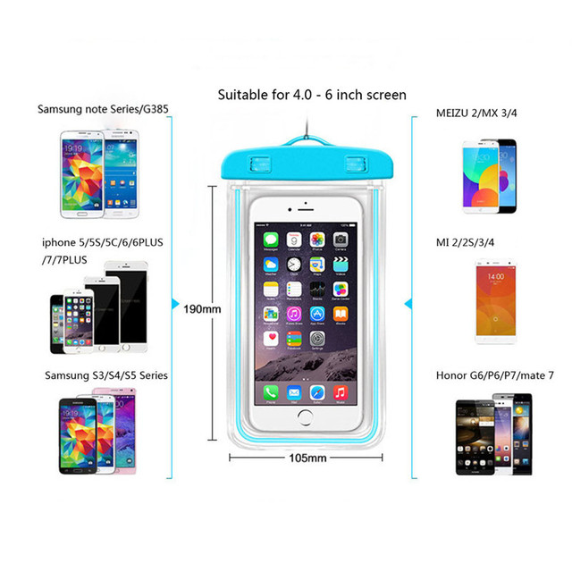 Waterproof Phone Pouch Drift Diving Swimming Bag Underwater Dry Bag Case Cover For Phone Water Sports Beach Pool Skiing 6 inch 5