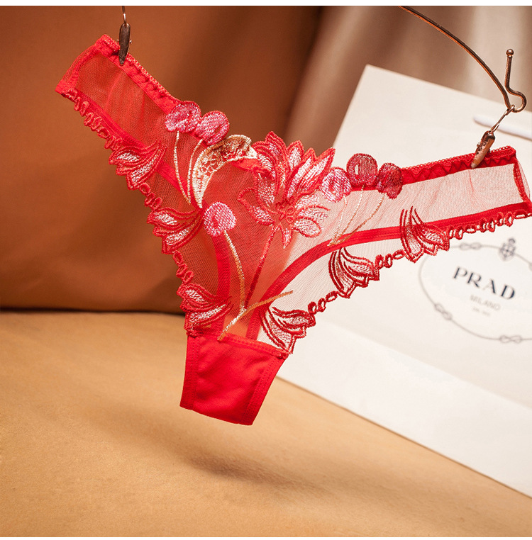 Hot Women's Lingerie Panties Sexy Lace Sheer Embroidery Flower Thongs See Through Briefs Underwear