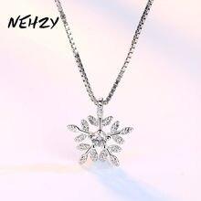 NEHZY – collier avec pendentif en argent Sterling 925 pour femme, nouveau bijou à la mode, haute qualité, fleur, cristal, Zircon, longueur 45CM
