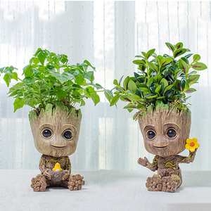 Strongwell Home Decor Ornaments Baby Groot Flower Pot Pen Holder Planter Cute Tree Man Toy Pot Garden Planter Flower Pot