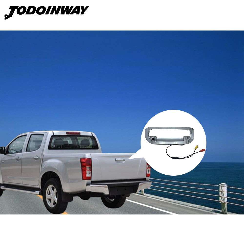 Car rear door handle Switch cover with Rear View Parking Backup Camera Tailgate Cover sticker For ISUZU D-MAX DMAX Pick up image