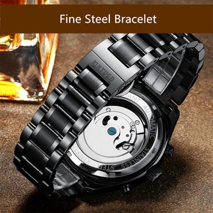 Image 5 - KINYUED Skeleton Tourbillon Mechanical Watch Men Automatic Classic Rose Gold Leather Mechanical Wrist Watches Reloj Hombre 2019