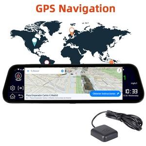 """Image 3 - Bluavido 10 """"araba dikiz aynası 4G Android 8.1 Dash kamera GPS navigasyon ADAS FHD 1080P araba Video kamera kaydedici DVR uzaktan görünümü"""