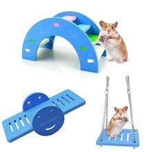Hamster brinquedos de madeira arco-íris ponte balanceamento brinquedos pequenos animais atividade escalada brinquedo diy hamster gaiola acessórios