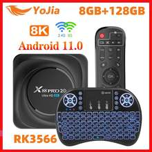 Smart 8k media player android 11.0 x88 pro 20 rk3566 caixa de tv android 11 8gb ram 128gb rom 2.4g/5g wifi 1000m google play youtube