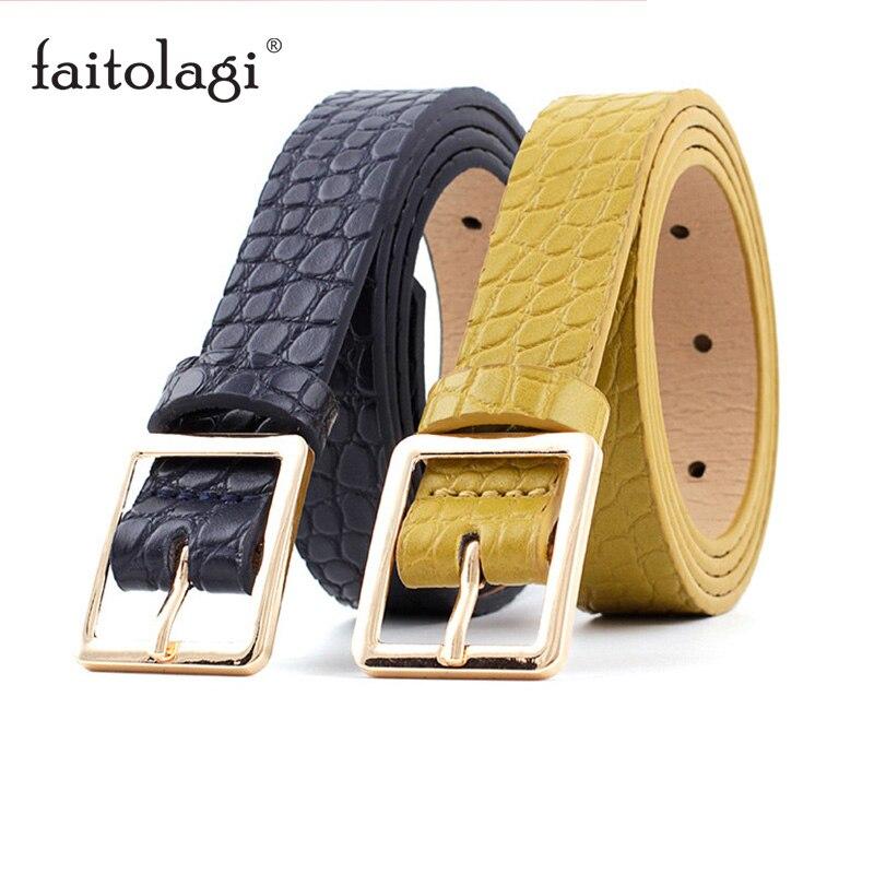 Crocodile Pattern Fashion Belt For Women Metal Buckle Ladies Leather Belt Black Brown Female Jeans Belts Pasek Damski
