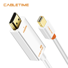 Cabletime Mini dp to HDMI 4K Gold Plated Mini DisplayPort to 4K HDMI HDTV Cable For Lenovo Computer MacBook Microsoft Surf N043 адаптер lenovo mini displayport to hdmi