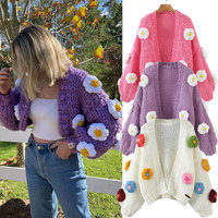 Za 2021 moda donna maglieria cappotto Puff manica lunga Cardigan soffi manuali colore fiori maglione capispalla femminile top allentati