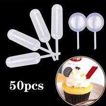 Пипетки-капельницы для десерта, украшение для торта, цилиндрическое пластиковое украшение для кухни, аксессуары для ювелирных изделий, 50 шт., 4 мл