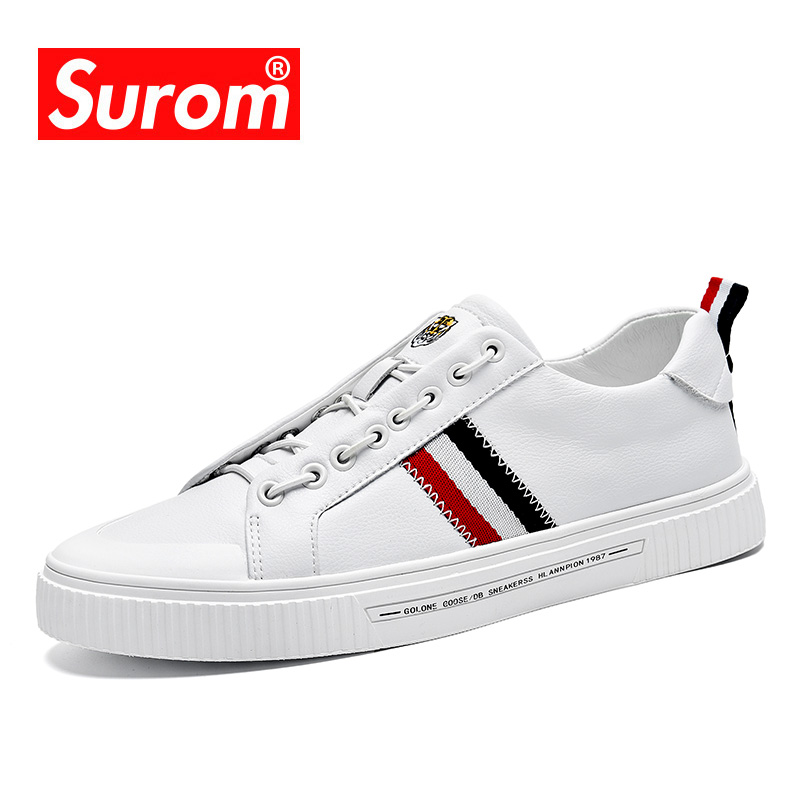 SUROM 2019 Autumn New Men's Quality Leather Casual Shoes Fashion Sneakers Men Breathable Non-slip Rubber Flats Male Shoes Adult