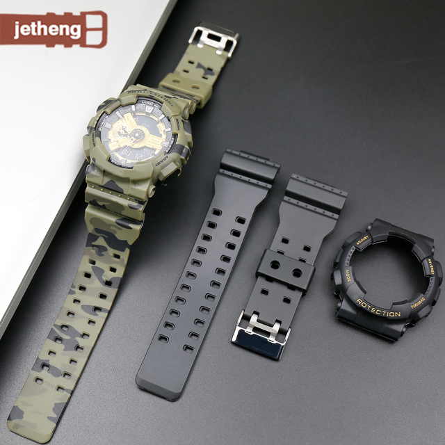 16mm Resin strap Suitable for casio g shock GA110 GA100 GD110 GD100 GD120 watch band watch accessories Including case