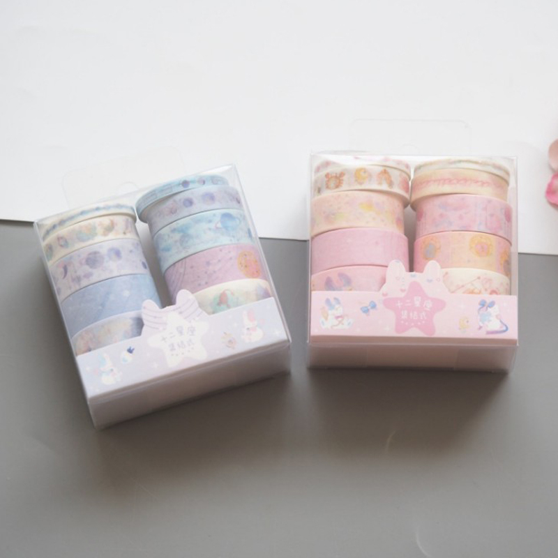 10 Pcs/pack Lovely Twelve Constellations Planet Star Decorative Washi Tape Scrapbooking Masking Tapes School Office Stationery