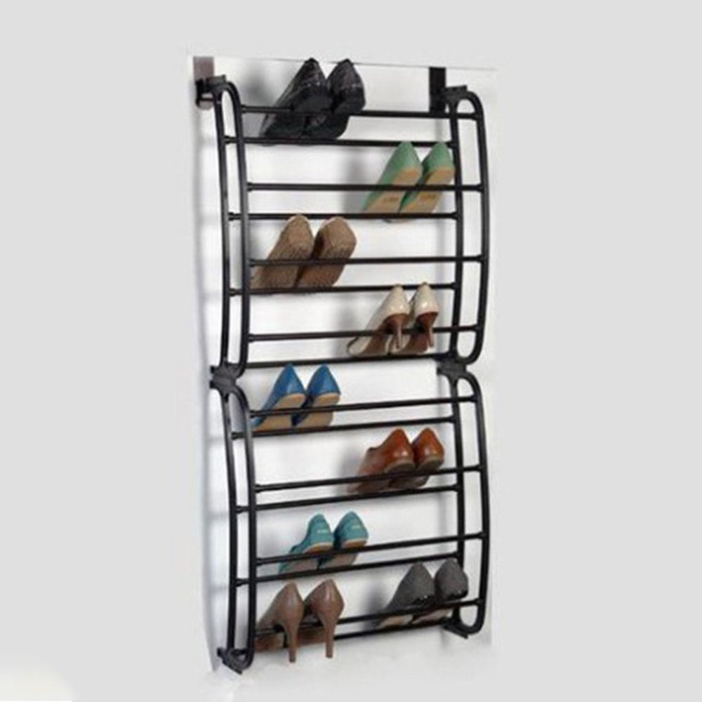4 Layers Hanging Shoe Rack for 12 Pairs of Shoe Rack with Non Slip Door Pads to Prevent Scratching 8