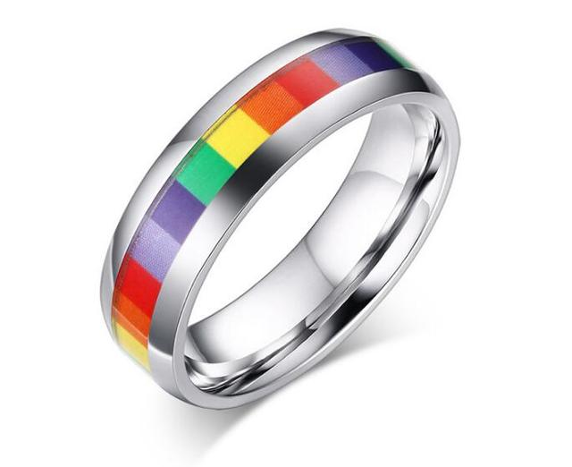 Mens Womens Rainbow Colorful LGBT Ring Stainless Steel Wedding Band Lebian & Gay Rings Drop Shipping 2