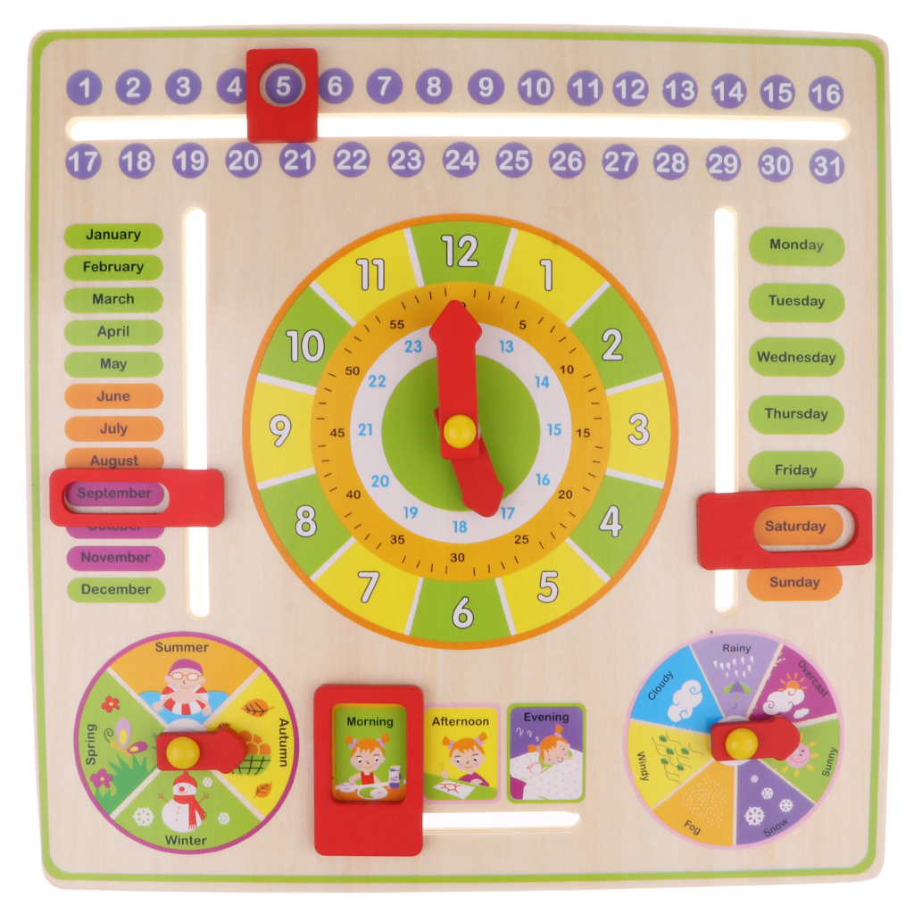 Wooden Daily Cognitive Calendar Clock Hanging Board Kids Early Education Toy For Preschool Graduation Classrooms Schools