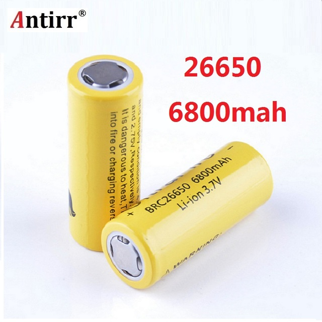 Antirr  26650 Battery 6800mAh 3.7V 26650 Protected Rechargeable Li ion Batteries Cell  26650 Battery
