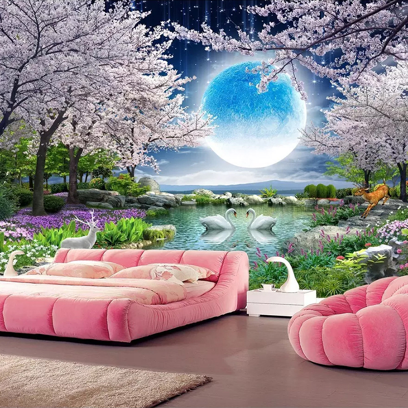 Custom-Mural-Wall-Paper-Moon-Cherry-Blossom-Tree-Nature-Landscape-Wall-Painting-Living-Room-Bedroom-Photo (3)