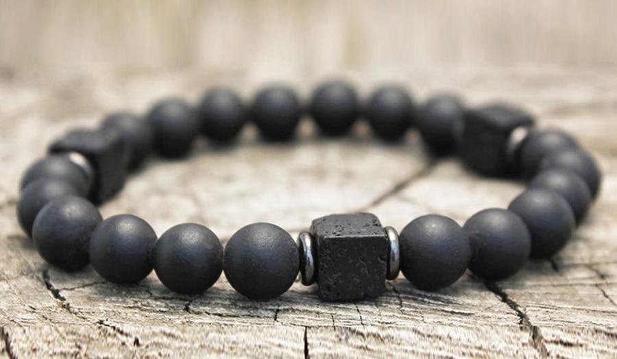 H18a2d76e90a74024a6ba389c81211087R Men Bracelet Natural Matte Stone Hematite Beads Bracelets
