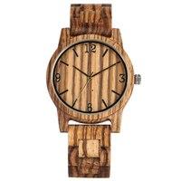Charming Braun Quarz Holz Uhr Zifferblatt Arabische Ziffern Holz Uhren Praktische Strap Holz Armbanduhr Unisex Geschenke-in Quarz-Uhren aus Uhren bei