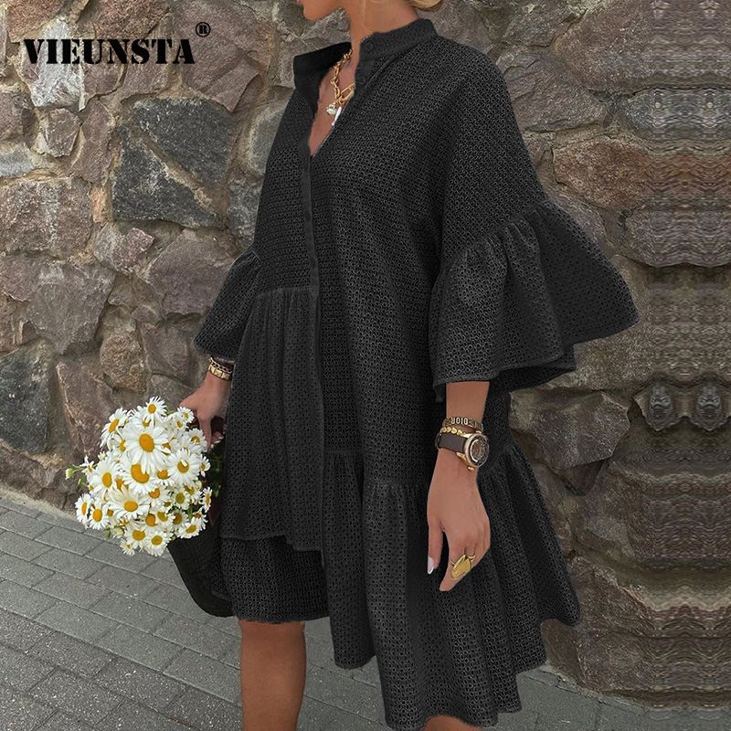 Autumn 3/4 Butterfly Sleeve Irregular Party Dress Women Button Stand Collar Ruffle Mini Dress Elegant Solid Loose Vintage Dress