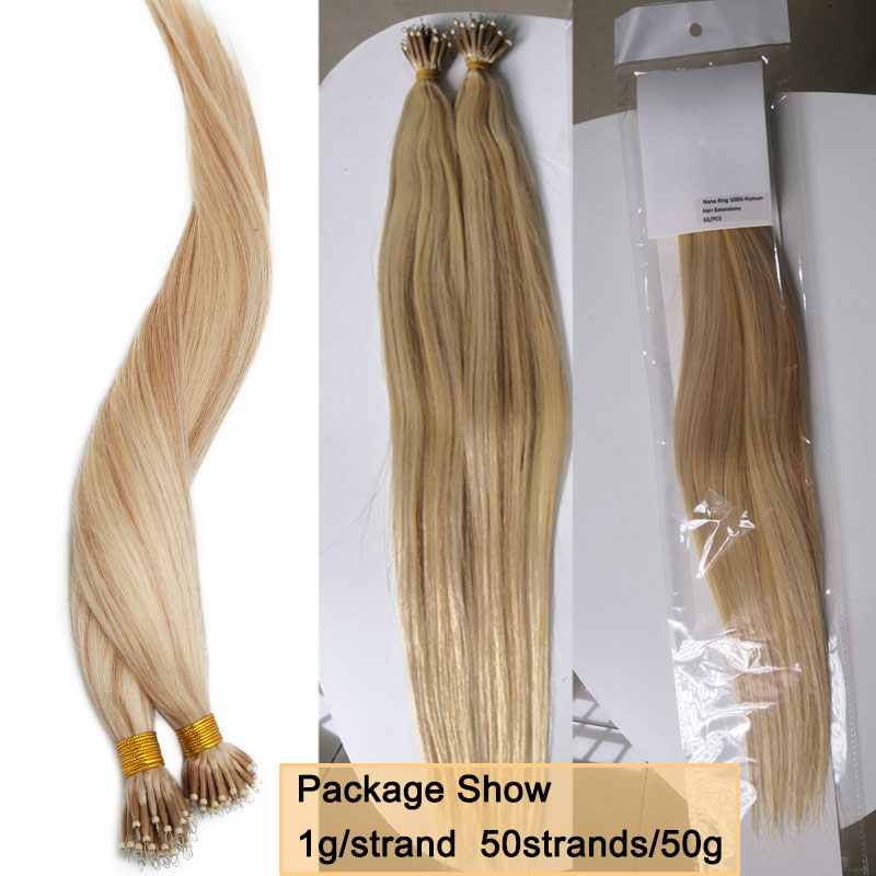 SEGO 16 24inch 50pcs 1g s Nano Ring Hair Micro Beads Hair Extensions Non Remy 100