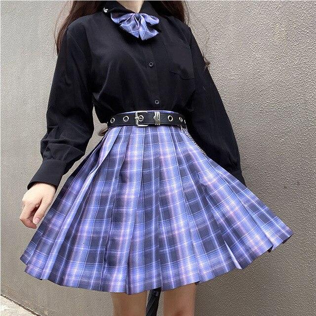 [Romantic Athanasy] Long/Short Sleeve Stundent Lady Girls High Waist Plaid Pleated Skirts JK School Uniform Anime Clothes Black