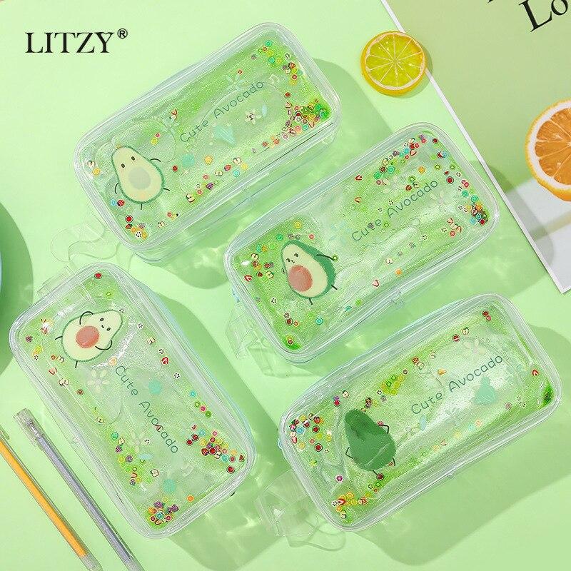 Avocado Pencil Case For Girls Kawaii Oil Gift Estuches School Pencil Box Big Pencilcase Cosmetic Bag School Supplies Stationery