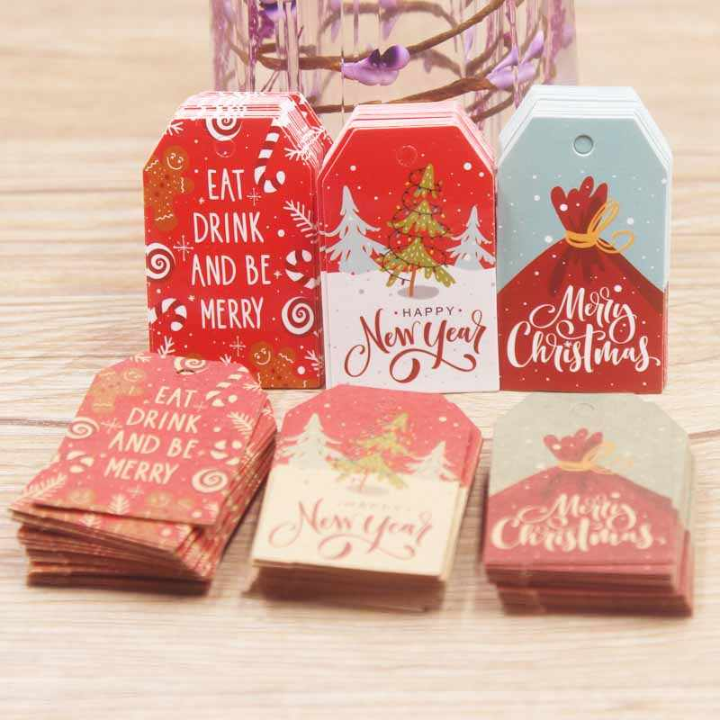 50pcs 5*3cm/2x4cm eat and drink Merry Christmas Tags Kraft Paper Card Gift Label Tag DIY Hang Tags Gift Wrapping Decor Gift Card