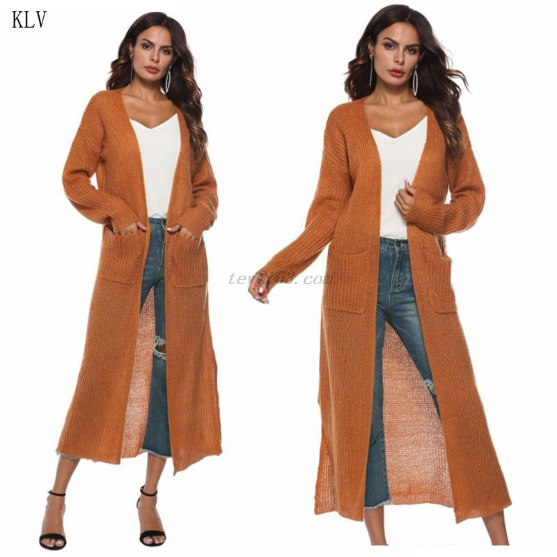 US $12.65 28% OFF Womens Long Sleeve Open Front Cardigan Maxi Long Side Split Solid Color Knitted Sweater Irregular Slim Coat with Large