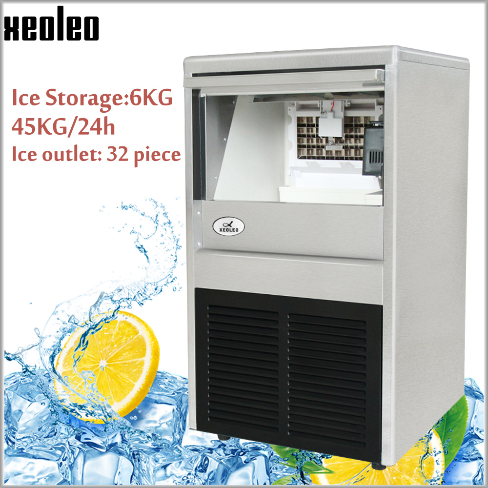 Xeoleo Commercial Ice Maker 45KG/24h Ice Machine 32 Pcs Cube Ice Each Time 20min Make Ice For Cafe/Bubble Tea Shop 6kg Storage