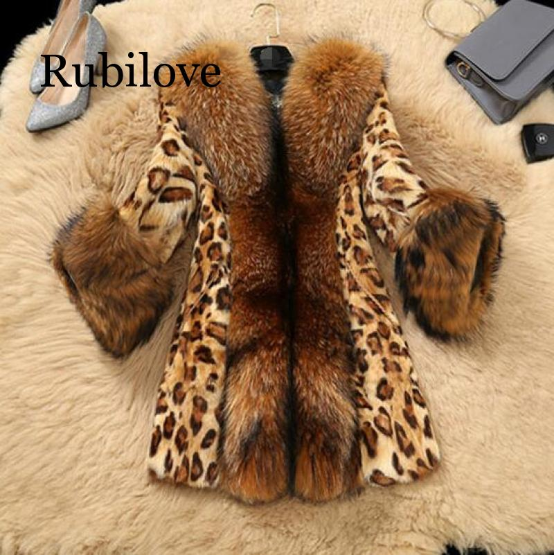 Women's Autumn Winter Faux Fur Jackets Leopard Mink Fur Coats Faux Raccoon Fur Collar Plus Size Fur Jackets
