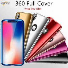 KISSCASE Plating Full Cover Case For iPhone 11 Pro Max XR 7 XS MAX X 8 360 Case For iphone 8 6 6S 7 Plus With Free Tempered Film(China)