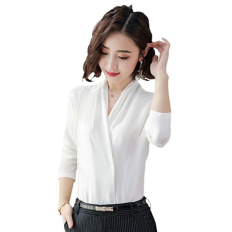 Купить женская офисная шифоновая блузка черного и белого цвета в корейском